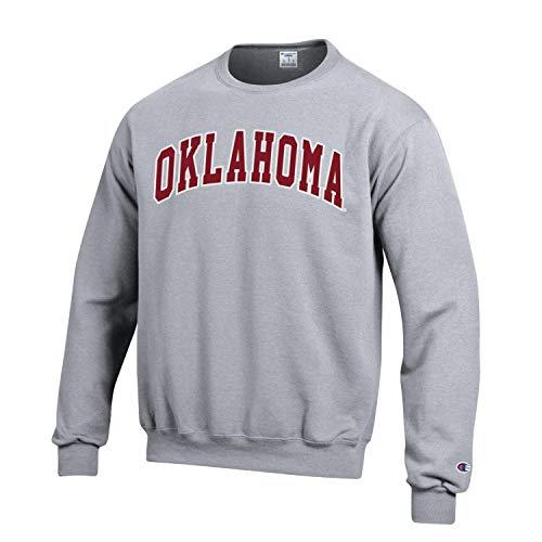 Champion NCAA Men's ECO Power Blend Crew Sweatshirt with Tackle Twill Embroidered Lettering-Oklahoma Sooners-Heather Grey-Large (Oklahoma Crew Sweatshirt)