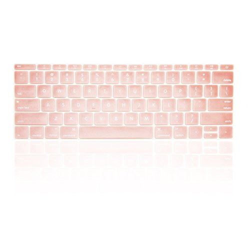 TOP CASE - Keyboard Cover Silicone Skin for MacBook Pro 13 inch Model A1708 (No TouchBar) Release 2017 & 2016 / Macbook 12-inch with Retina Display Model A1534 with TOP CASE Mouse Pad - Rose Gold