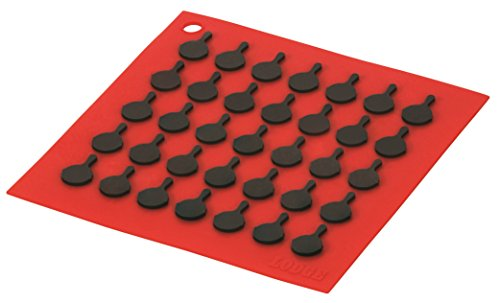 Lodge AS7S41 Silicone Square Trivet with Black Logo Skillets, Red Lodge Counter Table