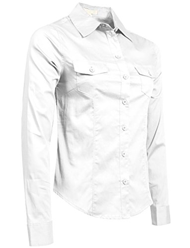 NE PEOPLE Womens Fitted Tailored Long Sleeve Button Down Shirt with Stretch (Downtown La Halloween Events)