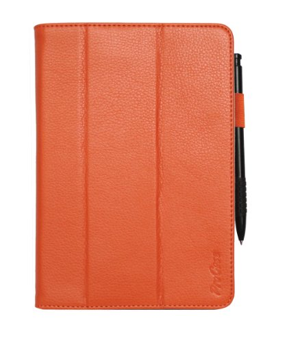 ProCase (TM) iPad mini case Slim Leather Case for Apple iPad mini 7.9 inch Tablet, built-in Smart Cover, elastic hand strap, and stylus loop, w/ sleep / wake feature (Orange)