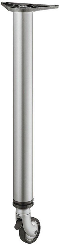 Pie para mueble con ruedas Plata RAL 9006 pata de mesa de altura ajustable + 25 mm base de la mesa redonda metal - Modelo h1877 | Altura: 710 mm, ...