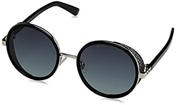 Jimmy Choo Metal Rectangular Sunglasses 54 0B1A Palladium Black HD gray gradient lens