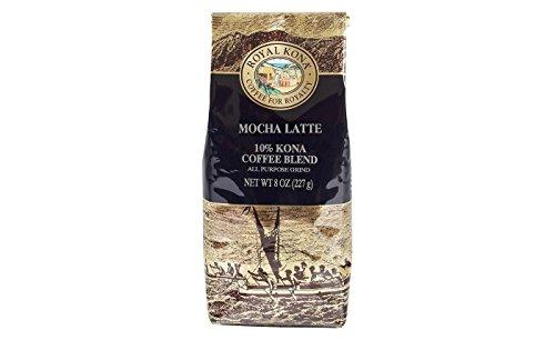 Royal Kona Coffee for Royalty MOCHA LATTE, 10% KONA Coffee Blend, All Purpose Grind, 8 Ounce -