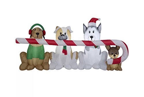Holiday Self Inflatable Christmas Santa Puppy Dogs, Husky Sled Dog, Goldendoodle, St. Bernard, Chihuahua, Shepherd Airblown Blow Up Light-up Lawn Decoration -