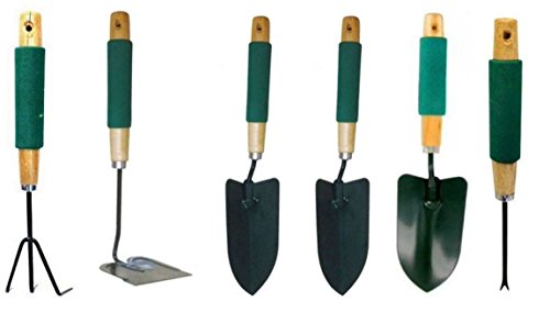JEWELS FASHION 6PC Heavy Duty Garden Tool Set-Jumbo Cushion Grip For Firm, Comfortable Hold-Anti-Rust,Strong,Sturdy,Durable Your Garden Needs, Such As Digging, Weeding, Loosening Soil &Transplanting - Jumbo Jewel