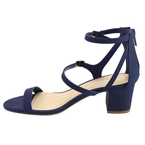 Cityclassified Ie09 Donna Tripple Strap Fibbia Posteriore Con Zip E Tacco Abito Sandalo Denim Blu Scuro