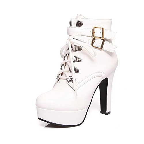 AmoonyFashion Women's Zipper Closed Round Toe High-Heels PU Low-top Boots, White, 41 ()