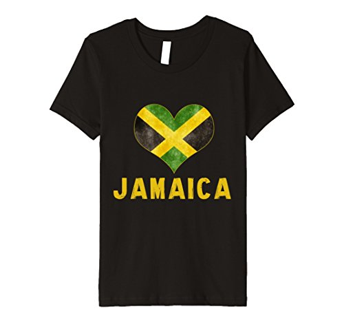 Kids I love Jamaica t shirt Jamaican Flag Heart Shirt Tee T-shirt 10 Black Jamaican Flag Heart