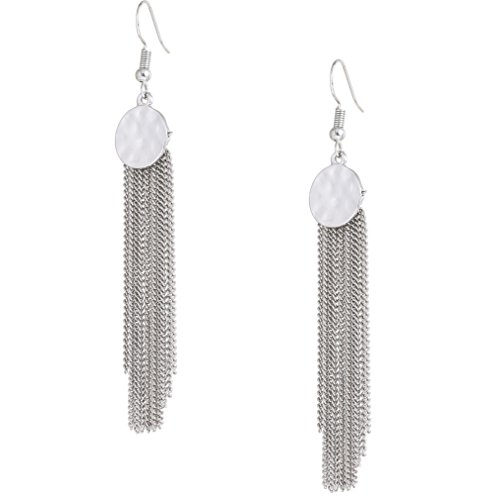 HSWE Tassel Earrings Coin Matel Round Chain Tassel Dangle Ear Hoops Silver (Hammered Silver Coins)