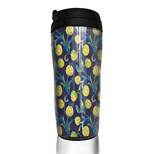 coffee cups with lids 12 oz Artichoke,Watercolor Artichokes Abstract Color Scheme Art Nouveau, Dark Blue Violet Blue and Yellow 12 oz,coffee cup holder for walker