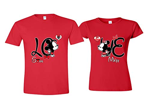LO & VE Matching Shirts for Couples - Disney Couple Shirts for Him and Her Red Women M (Disney Dills)