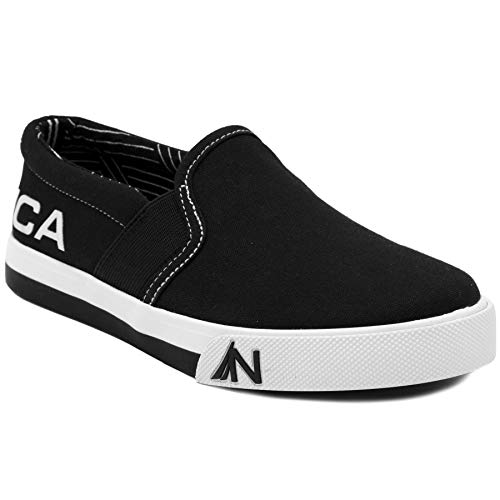 Nautica Kid's Fairwater Youth Slip-On Casual Shoe Canvas Sneaker-Black - On Slip Kids Black