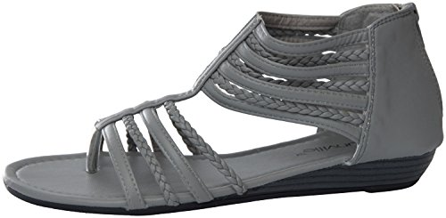 81002 Sandals Gladiator Womens Roman Perforated Flats Grey xqCCFUBOc