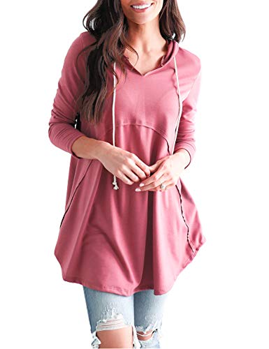 (DLDY Women's Pullover Long Sleeve Hoodies Coat Loose Casual French Terry Sweatshirt (Pink, L))