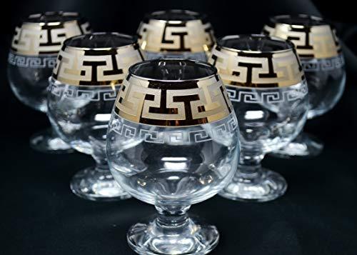 (Cognac Crystal glass set of 6, Snifter Brandy 13oz 400 ml, Platinum Modern Greek Design, Glass Gift, BRANDY ARMAGNAC CALVADOS WHISKEY GLASSES ENGRAVED VINTAGE GREEK DESIGN CLASSIC STEM GOBLETS)