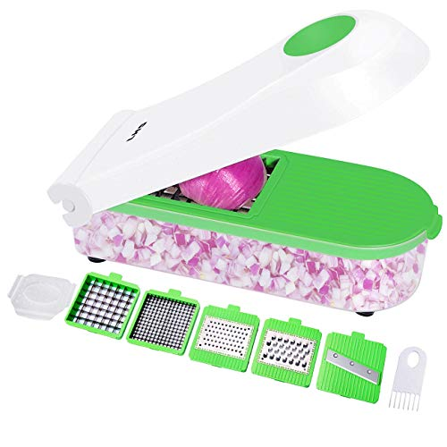 Vegetable Chopper Mandoline Slicer Dicer Cutter-Onion Chopper Food Chopper Strongest Heavy Duty with 5 Blades Veggie Slicer Manual Mandoline for Vegetable,Fruit,Onion ()
