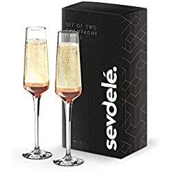 Premium Champagne Glasses Set - sevdele Love Series Toasting Flutes Wedding Set - Stylish Champagne Glass Set for Engagements - Affordable, Durable Champagne Flutes, Hand Blown - Rose Gold Set of 2