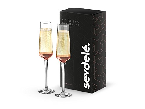 Premium Champagne Glasses Set - sevdele Love Series Toasting Flutes Wedding Set - Stylish Champagne Glass Set for Engagements - Affordable, Durable Champagne Flutes, Hand Blown - Rose Gold Set - Gift Flutes Champagne