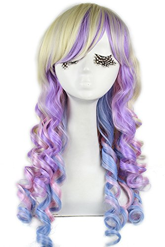 Nuoqi Long Rainbow Rock Spring Bouquet Cosplay Wig