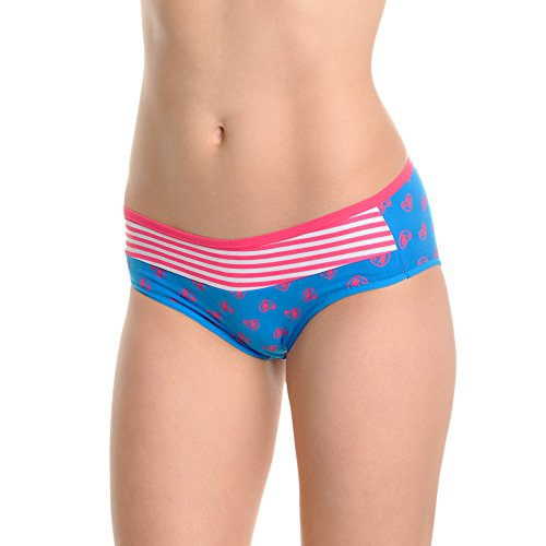 Angelina Women's Cotton Bikini Panties with Heart Pattern Print Design (6-Pack), G6218_UL