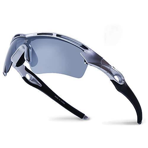 - XR Unisex Polarized Sports Sunglasses for Men Women TR90 Ultra Lightweight Unbreakable Frame 100% UV Protection (Silver)