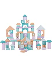 NUOBESTY 80pcs Wooden Baby Blocks Building Blocks Colorful Shape Sorter Early Educational Toys Wooden Castle Model