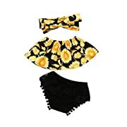 KaiCran Hot Sales Newborn Baby Girl Sunflower Off Shoulder Tops+Lace Ruffles Shorts + Headband Clothes Set (Age: 12-18 Months)