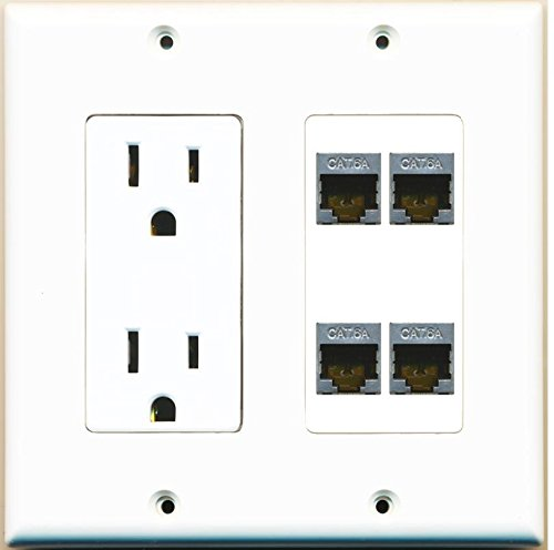 RiteAV - (2 Gang Decorative) 15A Power Outlet 4 Port Cat6a Ethernet Wall Plate White
