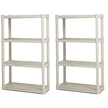 2) Sterilite 01648501 Heavy Duty 4-Shelf Shelving Storage Units w/Solid Shelves