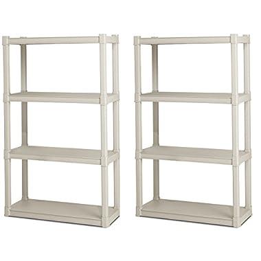 2) Sterilite 01648501 Heavy Duty 4-Shelf Shelving Storage Units w/Solid Shelves