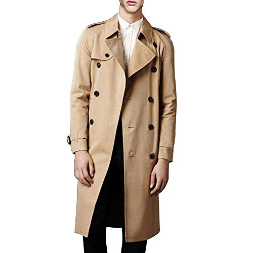 LINGMIN Men's Double Breasted Trench Coat Casual Lapel Long Sleeve Windbreaker Jacket Khaki