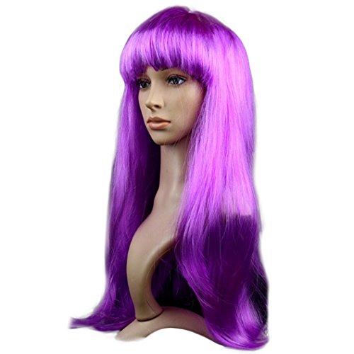 DEESEE Long Straight Masquerade Small Roll Bang Long Straight Hair Cosplay wig (purple)
