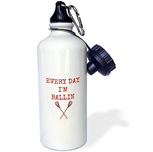 Moson Sports Water Bottle Gift, Every Day I'm Ballin Lacrosse Sticks Picture Red Lettering Brown White Stainless Steel Water Bottle for Women Men 21oz