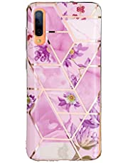 Miagon Marble Case for Samsung Galaxy A50,Bling Electroplated Phone Cover Glossy Flexible Soft Rubber Silicone Bumper Protective Shell For Girls,Purple Flower
