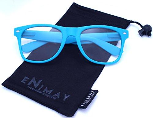 Enimay Unisex Men's Women's Non Prescription Classic Wayfarer Style Glasses Blue One - Non Prescription Glasses Wayfarer