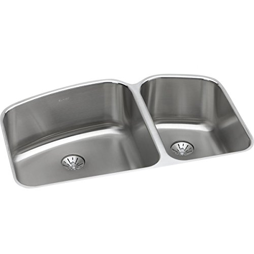 Harmony Lustertone Double Bowl - Elkay ELUH31229RPD Lustertone Classic 60/40 Double Bowl Undermount Stainless Steel Sink with Perfect Drain