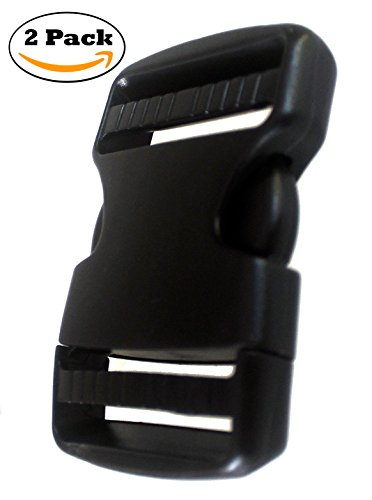 Plastic Side Release Buckle 2 Inches Webbing Strap Clasp Black Pack of 2