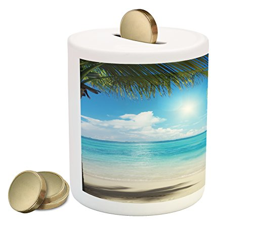(Ambesonne Tropical Beach Piggy Bank, Coconut Palm Trees Shadows On Caribbean Shore Summer Plants Idyllic, Printed Ceramic Coin Bank Money Box for Cash Saving, Aqua Coconut Green)