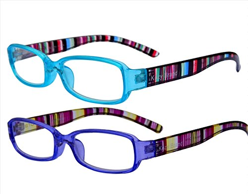 Reading Glasses for Women Stylish Colorful Readers with Matching Case and Cloth 2 Pack (Blue & Purple, 1.5)