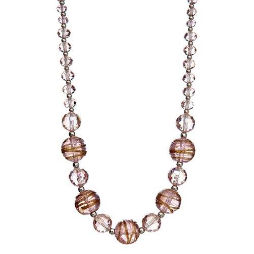 "Lova Jewelry ""Frosty Pink"" Hand-Blown Venetian Murano Glass Necklace - Crystal Venetian Necklace"