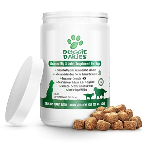 Doggie Dailies Glucosamine for Dogs, 225 Soft Chews, Advanced Hip and Joint Supplement for Dogs with Glucosamine, Chondroitin, MSM, Hyaluronic Acid and CoQ10, Premium Dog Glucosamine (Peanut Butter)