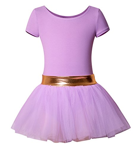 DANSHOW Girls' Short Sleeve Tutu Leotards for Dance Ballet with Puffy Skirt and Shiny Waist(2-4Y,purple) - Short Sleeve Tutu