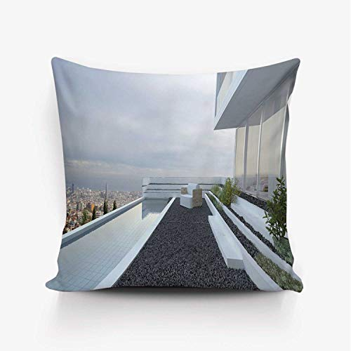 YOLIYANA Modern Decor Soft Throw Pillow Cover,Contemporary Luxury House with Panoramic View Patio Pebbles Pool for Home Office,18