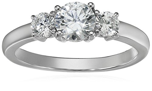 Platinum Plated Sterling Silver Three-Stone Anniversary Ring set with Round Cut Swarovski Zirconia (1 cttw), Size 6