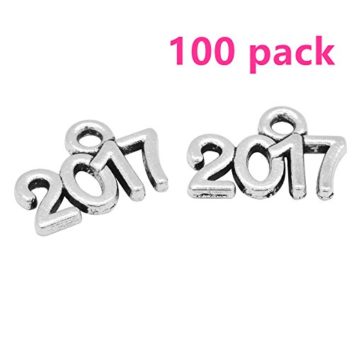 Yansanido Pack Of 100 Alloy 2017 13Mmx9mm Diy Antique Message Charms Pendant For Making Bracelet And Necklace  100Pcs 2017 Silver