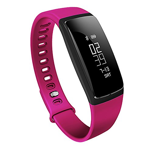 Bluetooth Fitness Tracker, Heart Rate Monitor, Smart Fitness Band Activity Tracker Waterproof Bracelet Wristband Pedometer Calorie Counter Sleeping Watch for IOS & Android (V07 purple)