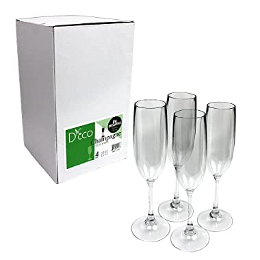 Unbreakable Champagne Glasses: 100% Tritan - Shatterproof, Reusable, Dishwasher Safe (Set of 4) by D'Eco