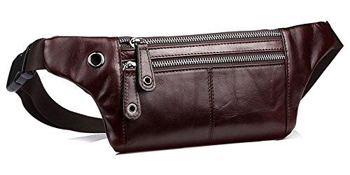 a0b4e0fca3ad Everdoss Mens Genuine Leather Waist Pack Retro Bum Bag Casual Hip Pouch  Brown