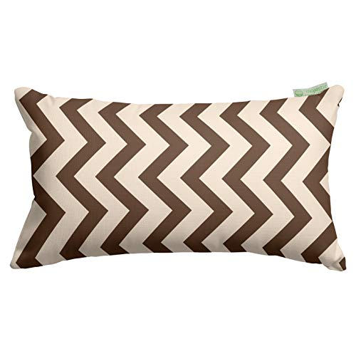 """Majestic Home Goods Chocolate Chevron Indoor / Outdoor Small Throw Pillow 20"""" L x 5"""" W x 12"""" H"""
